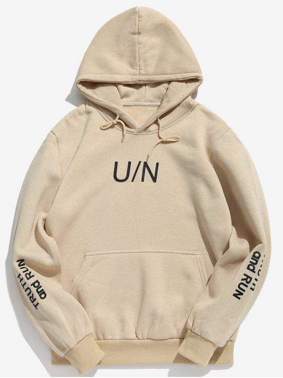 hot Letter Pouch Pocket Fleece Hoodie - LIGHT KHAKI L