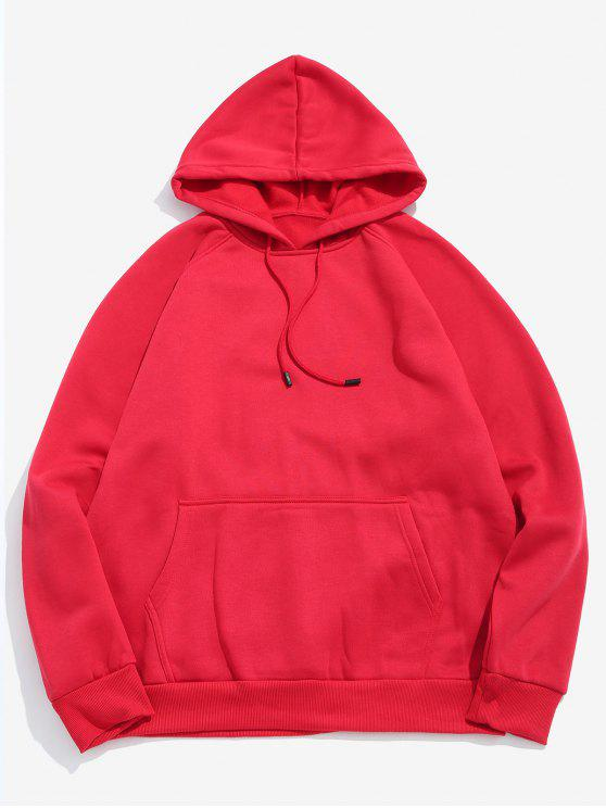trendy Basic Solid Pouch Pocket Fleece Hoodie - LAVA RED 2XL
