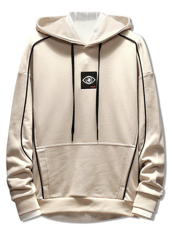 fashion Patchwork Embroidery Applique Casual Pullover Hoodie - BEIGE M