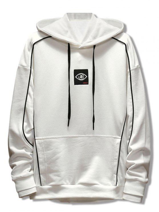 chic Patchwork Embroidery Applique Casual Pullover Hoodie - WHITE M