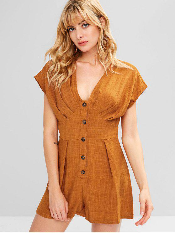 best Plunge Button Detail Romper - PAPAYA ORANGE M