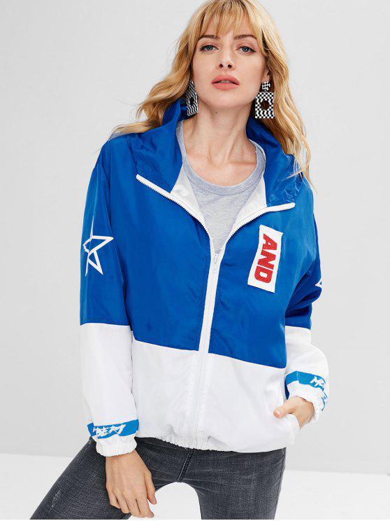 online Color Block Zip Up Windbreaker Jacket - MULTI S