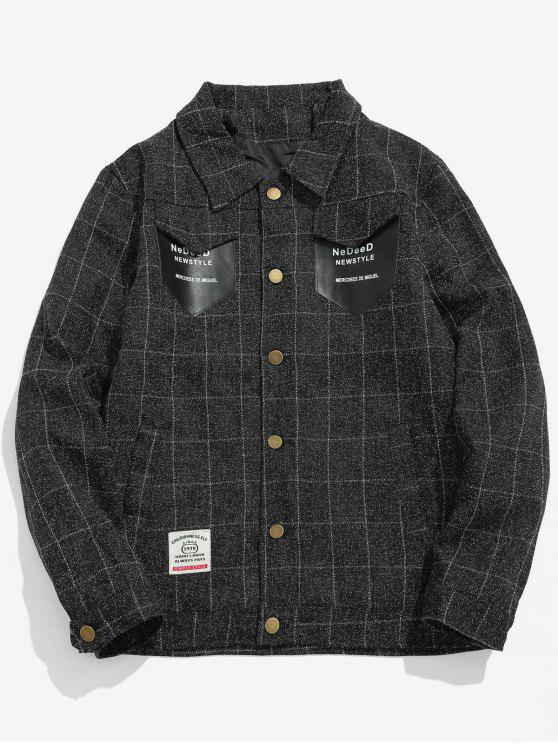 new Pockets Patch Plaid Jacket - BLACK S