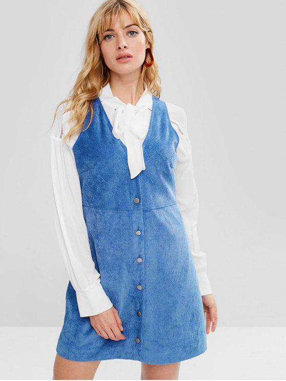 latest ZAFUL Button Up Corduroy Mini Dress - BLUE M