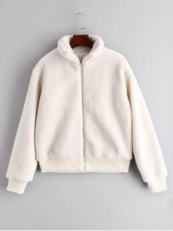 affordable ZAFUL Fluffy Short Winter Faux Shearling Coat - WHITE L