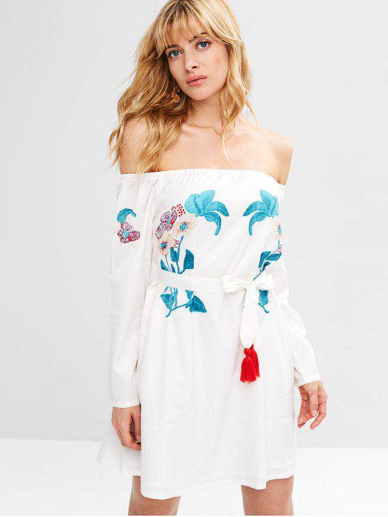 new ZAFUL Floral Tassels Off Shoulder Dress - WHITE S