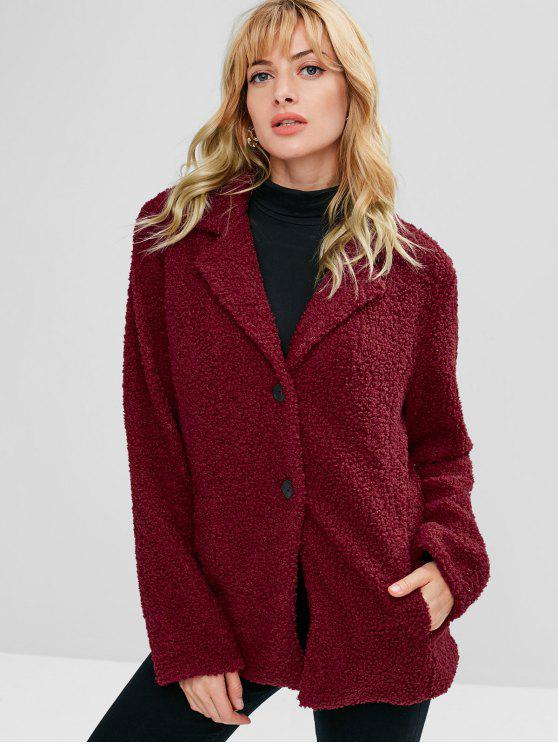 shop ZAFUL Lapel Button Up Faux Shearling Teddy Coat - RED WINE S
