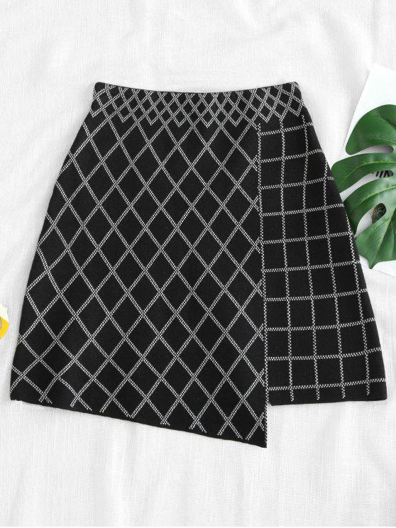 fancy Argyle Pattern High Low Hem Knitted Skirt - MULTI ONE SIZE