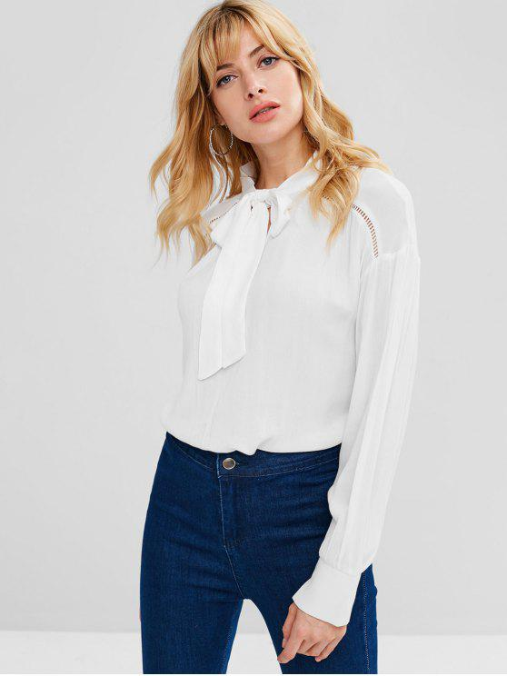 fashion ZAFUL Eyelet Bow Tie Blouse - WHITE L