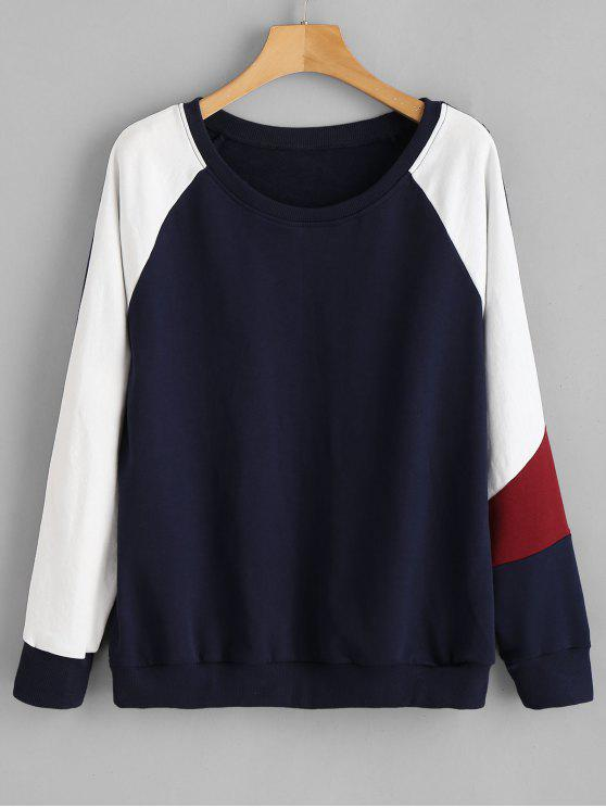 new ZAFUL Color Block Raglan Sleeve Sweatshirt - DEEP BLUE ONE SIZE