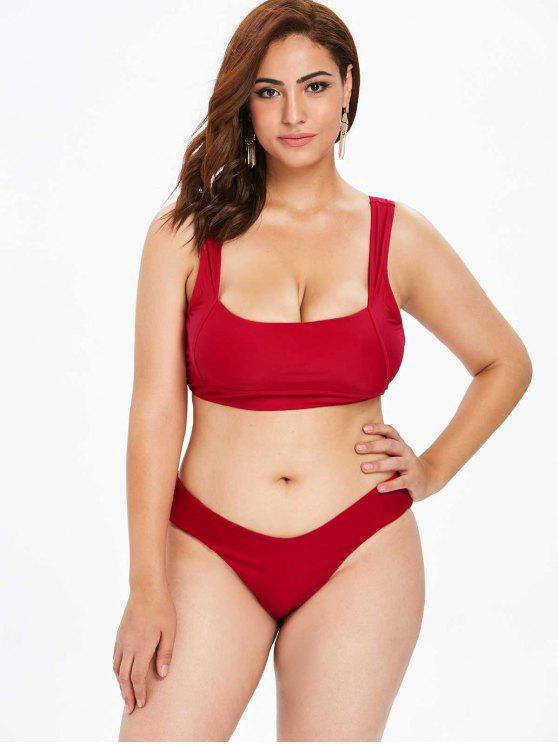 4be1ec7b9cc4 19% OFF] 2019 ZAFUL Plus Size Square Neck High Leg Bikini Set In ...