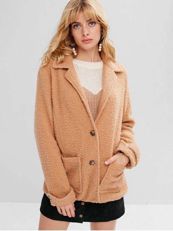 fashion Zaful Button Up Lapel Faux Shearling Coat - CAMEL BROWN L