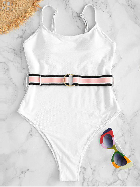 womens High Cut Belted Swimsuit - WHITE L