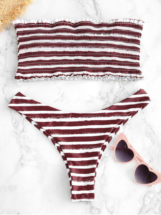 affordable ZAFUL Smocked Stripes Bandeau Bikini Set - DEEP COFFEE L