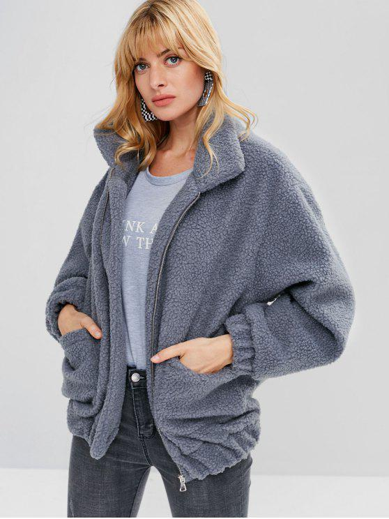 outfits Fluffy Zip Up Winter Teddy Coat - BLUE GRAY S