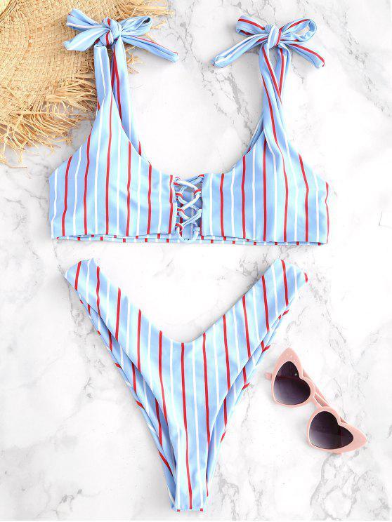 ladies ZAFUL Striped Lace Up Knotted Bikini Set - DENIM BLUE L