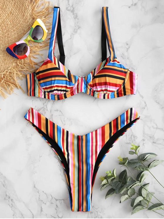 lady ZAFUL Colorful Striped Underwire High Leg Bikini Set - MULTI L