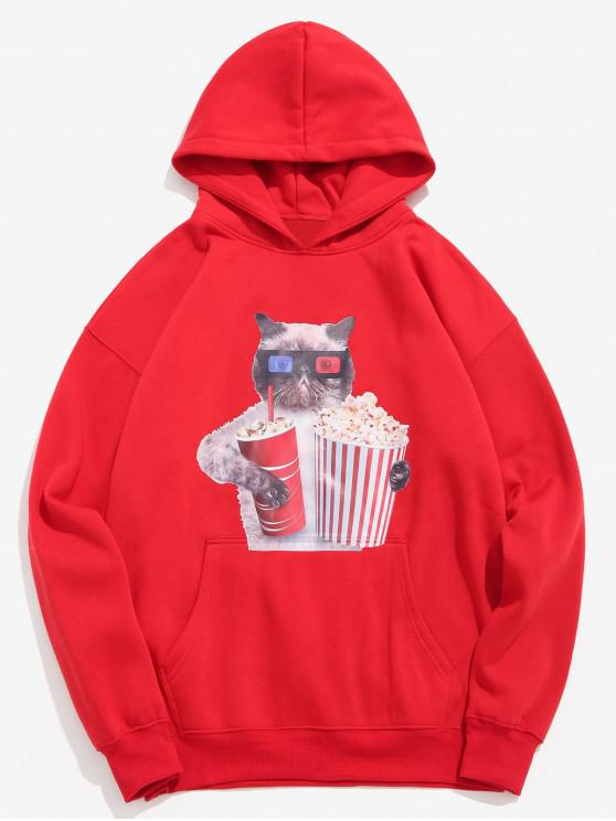 shop Funny Cat and Popcorn Printed Fleece Hoodie - LAVA RED 2XL