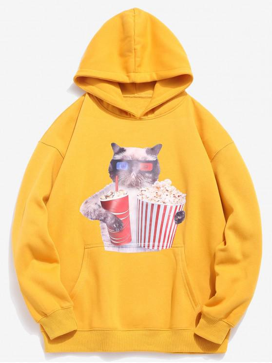 latest Funny Cat and Popcorn Printed Fleece Hoodie - RUBBER DUCKY YELLOW XL
