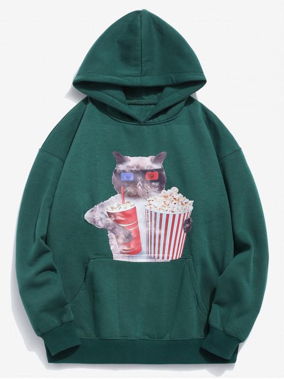 shops Funny Cat and Popcorn Printed Fleece Hoodie - MEDIUM SEA GREEN 2XL