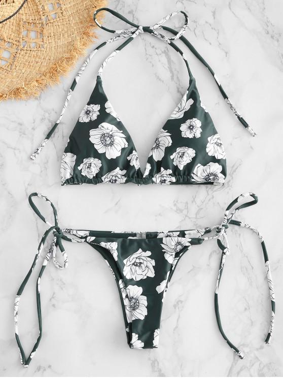 Conjunto Bikini con Cadena de Flor - Verde Marrón Claro L