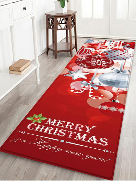 outfit Christmas Snowflake Pattern Non-slip Flannel Floor Mat - RED W24 X L71 INCH
