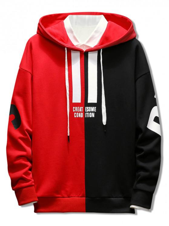 ladies Contrast Color Letter Pullover Hoodie - LAVA RED L