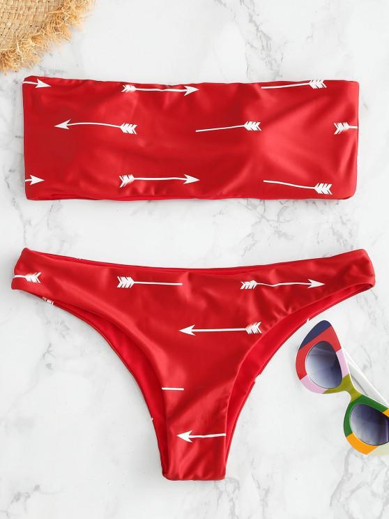 Bikini de Bandeau con Estampado de Flechas ZAFUL - Rojo Cereza S