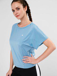 ZAFUL Batwing Sleeve T-shirt - Baby Blue M