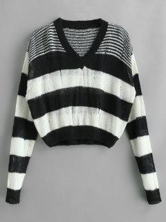 Drop Shoulder Striped Sweater With Ripped - Multi