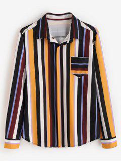ZAFUL Contraste Stripes Camisa Con Bolsillo En El Pecho - Multicolor S
