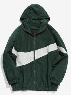 Contrast Casual Zipper Lightweight Jacket - Deep Green Xl