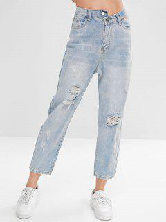 High Waist Ripped Straight Jeans - Jeans Blue S