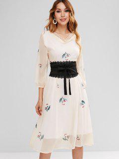 Lace Insert Flower Corset Dress - Beige M