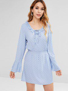 Ruffle Polka Dot Bell Sleeve Dress - Sea Blue S