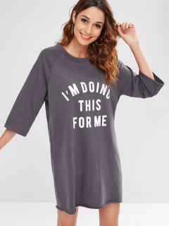 Graphic Raglan Sleeve Sweatshirt Dress - Gray M