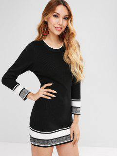 Striped Mini Sweater Dress - Black L