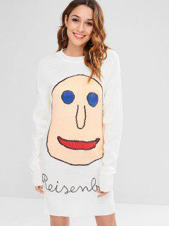 Smiling Face Print Sweater Dress - White
