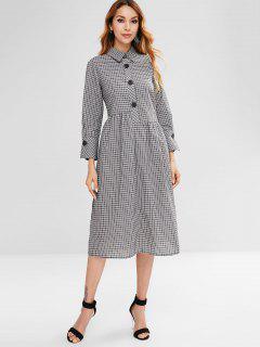Plaid Half Button Slit Dress - Multi L