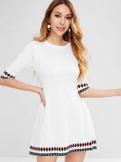 Fence Print Half Sleeve A-line Knitted Dress - White