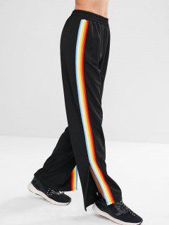 Rainbow Striped Side Slit Pants - Black M