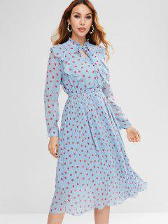 Polka Dot Pleated Ruffle Dress - Day Sky Blue L