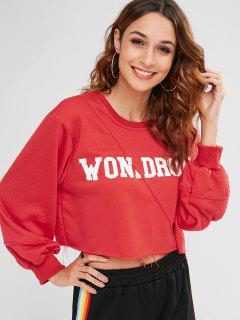 Letter Graphic Frayed Sweatshirt - Red