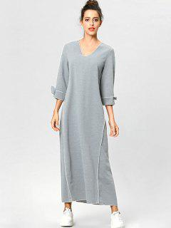 Casual Knotted Sleeve Maxi Dress - Gray Cloud M