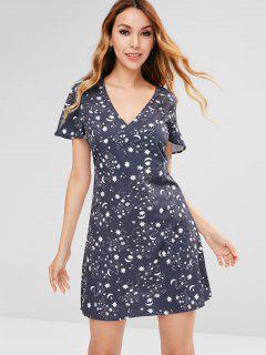 Star Moon Mini Dress - Mist Blue L