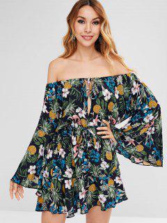 Mini Vestido De Estampado Floral Con Mangas Acampanadas - Multicolor Xl
