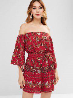 Bell Sleeves Floral Print Off Shoulder Romper - Red M
