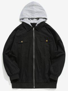 Embroidered Letter Patchwork Hooded Jacket - Black M