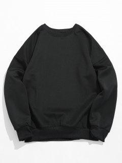 Letter Print Crewneck Sweatshirt - Black M