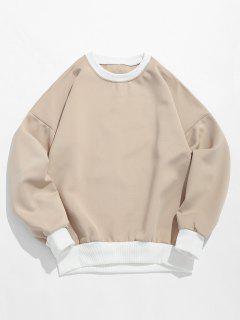 Sweat-shirt Lettre Imprimée à Col Rond - Kaki Léger 2xl